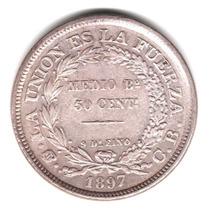 Moneda Bolivia 50 Centavos Medio Boliviano 1897 Plata 900