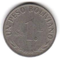Moneda Bolivia 1 Peso Boliviano 1969 Km#192