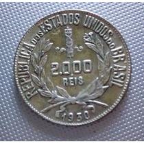 Moneda 2000 Reis Brasil 1930 Plata Excelente Estado ( Y )