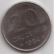 Brasil Moneda De 20 Cruzeiros Año 1984 !!