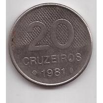 Brasil Moneda De 20 Cruzeiros Año 1981