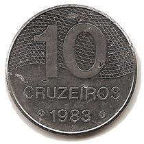 Brasil Moneda De 10 Cruzeiros Del Año 1983 Km#592.1 Acero