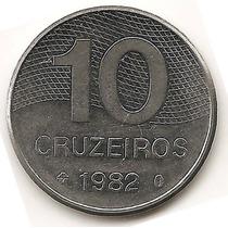 Moneda Brasil 10 Cruzeiros Año1982 Km#592.1 Acero Inox