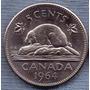 Canada 5 Cents 1964 * Castor * Elizabeth Ii *