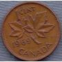 Canada 1 Cent 1969 * Hoja De Maple * Elizabeth Ii *