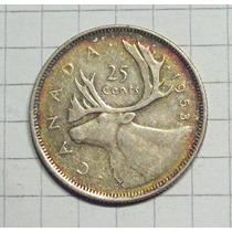 Canada 25 Centavos Plata 1953 Muy Linda