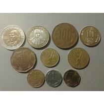 Lote X 10 Monedas De Chile Actuales, $100 Y $500 Bimetalicas