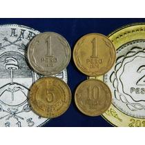 Chile 4 Monedas $ 1- 1976/79 $10 2000 Y 5 Ctv 66 Muy Buenas!