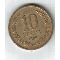 Chile Moneda De 10 Pesos Año 1988 !!!!!!!!