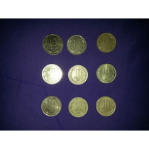 Lote De 9 Monedas Chilenas De 10 Pesos