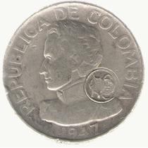 Colombia C50 1947 Plata Resello Numismaticos Colombianos Mb