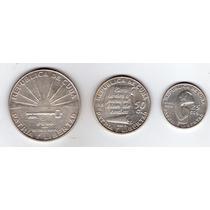 Cuba Monedas 1953 Serie De Plata 1 Peso , 50 Centavos, 25 Ce