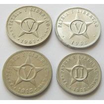 2 Y 5 Centavos 1915 5 Centavos 1961 Y 1968 De Cuba !