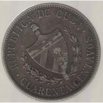 Cuba 40 Centavos 1915 Exc