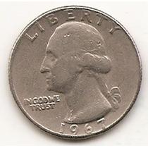 Moneda De Estados Unidos De 25 Cent. Cuarter Dolar Año 1967#
