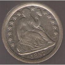 Estados Unidos Usa 1 Dime 1857 Mb+