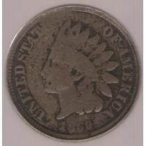 Estados Unidos Usa 1 Cent 1860 Doblada B+