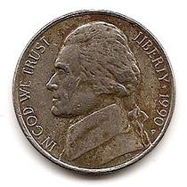 U.s.a. Moneda De Niquel De 5 Cts. Letra D Año 1990