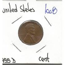 Estados Unidos Moneda De Un Centavo De 1955 D