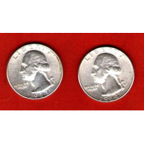 Lote 2 Monedas Usa 25 Ctvos Plata