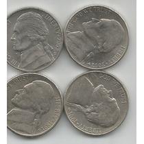 Estados Unidos Lote De 4 Monedas De 5 Centavos