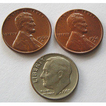 1 Dime 1967 Y 1 Cent 1960 D & 1961 D Lincoln Estados Unidos