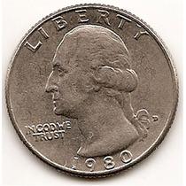 Moneda Estados Unidos De 25 Cent.cuarter Dolar Año 1980d#