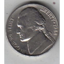 Estados Unidos Moneda De 5 Cents Año 1988 P !!