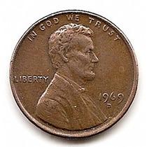 U.s.a. Moneda De Cobre De 1 Centavo Año 1969