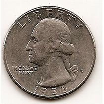 Moneda Estados Unidos De 25 Cent.cuarter Dolar Año 1986d#