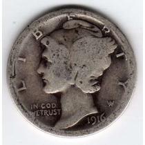 Moneda Estados Unidos 10 Centavos Plata Mercury Año 1916 S !