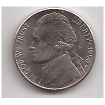 Estados Unidos Moneda De 5 Cents Año 1996 P !!!