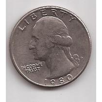 Estados Unidos Moneda 1/4 De Dolar Año 1980 D !!