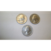 3 Monedas De Estados Unidos 25 Centavos De Dolar Años 1965/6