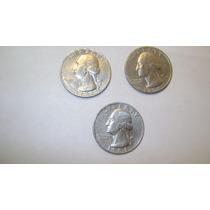 3 Monedas De Estados Unidos 25 Centavos De Dolar Años 1979