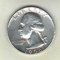 Estados Unidos Moneda De 1/4 Dólar De Plata 1956 Km 164