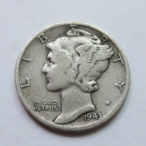 Moneda Usa One Mercury Dime 1943 Plata