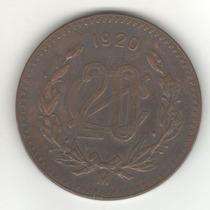 Mexico Escasísima Moneda De 20 Centavos Año 1920 Km 437 Xf