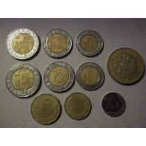 Lote De 10 Monedas De Mexico. (7 Bimetalicas Distintas )