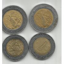 Mexico Lote De 4 Monedas Bimetalicas Uno Y 2 Pesos