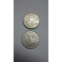 2 Monedas Mexicanas 1982 Templo Maya
