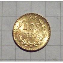 Mexico 2 Pesos Oro 1945 1,6 Gms Sin Circular