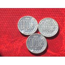 Lote 3 Monedas 10 Centavos De Méjico..