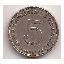 Panama Moneda De 5 Centesimos De Balboa Año 1962
