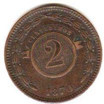 Moneda De Paraguay Año 1870 De 2 Centesimos Muy Buena-