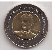 Republica Dominicana 10 Pesos Año 2010 Moneda Bimetalica !!