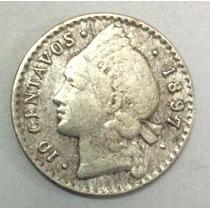Moneda Rep. Dominicana 10 Centavos 1897. Plata