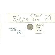 Moneda Antigua De Plata De Uruguay Año 1943 Valor 50 Cent