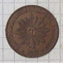 Uruguay 5 Ctvos 1857 Excelente + Muy Rara En Este Estado