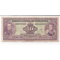 Venezuela Billete De 10 Bolivares Año 1977 Pick 51 F !